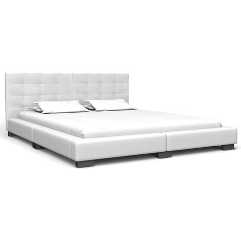 Bed Frame White Faux Leather 150x200 cm