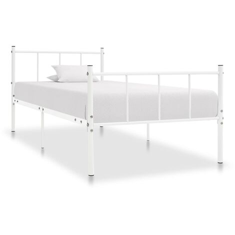 Bed Frame White Metal 100x200 cm