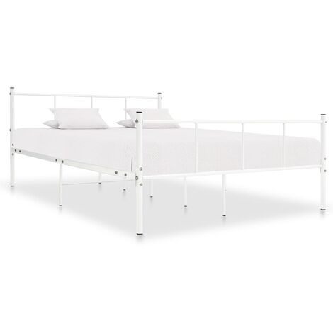 Bed Frame White Metal 140x200 cm