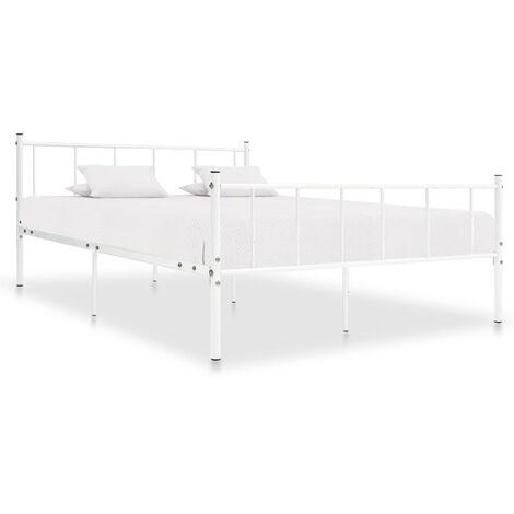 Bed Frame White Metal 180x200 cm