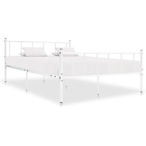 Bed Frame White Metal 200x200 cm