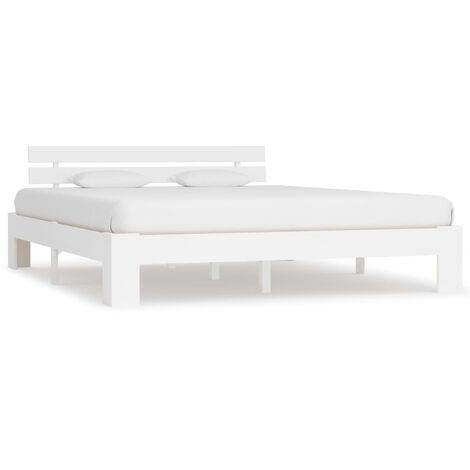 Bed Frame White Solid Pine Wood 180x200 cm 6FT Super King