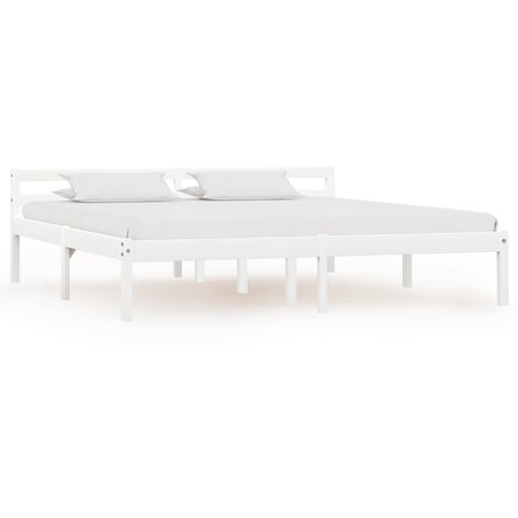 """main image of """"Bed Frame White Solid Pine Wood 180x200 cm 6FT Super King - White"""""""