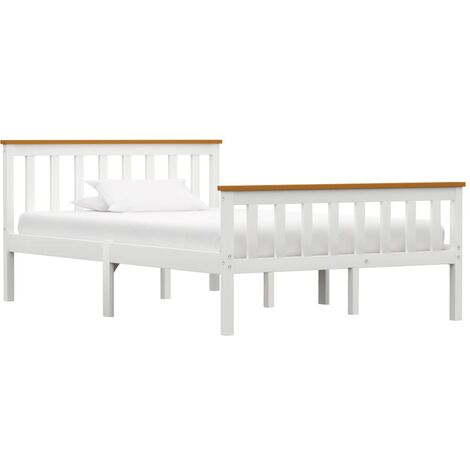 Bed Frame White Solid Pinewood 120 x 190 cm