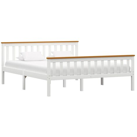 Bed Frame White Solid Pinewood 150 x 200 cm