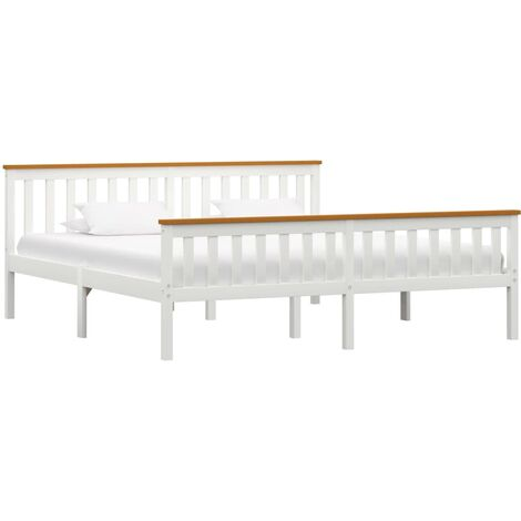 Bed Frame White Solid Pinewood 6FT Super King