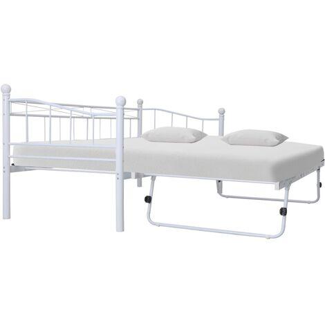 Bed Frame White Steel 180x200/90x200 cm