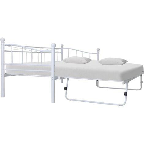 Bed Frame White Steel 180x200/90x200 cm - White