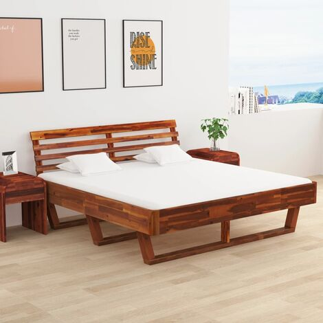 Bed Frame with 2 Nightstands Solid Acacia Wood 180x200 cm - Brown