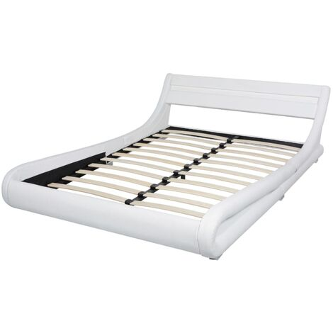 Bed Frame with LED 135x190 cm Artificial Leather White