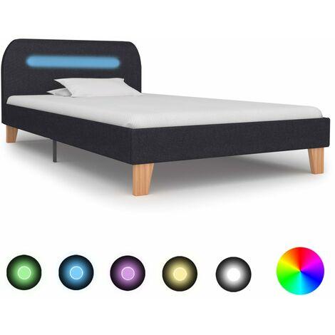 Bed Frame with LED Dark Grey Fabric 90x190 cm