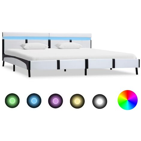 Bed Frame with LED White and Black Faux Leather 6FT Super King