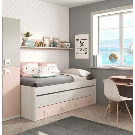 Bed frame with second pull-out bed with chest of drawers and a matching wall shelf, white colour with light wood effect and pink, 199 x 65 x 95 cm.