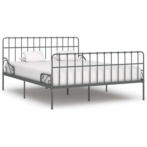 Bed Frame with Slatted Base Grey Metal 180x200 cm