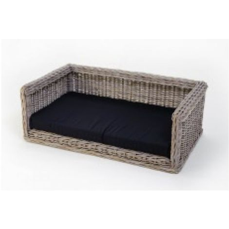 bed pillow for dogs orthopedic dog Outdoor Dog sofa Wicker Dog Sofa 115 x 80 cm + Polyester cushion black
