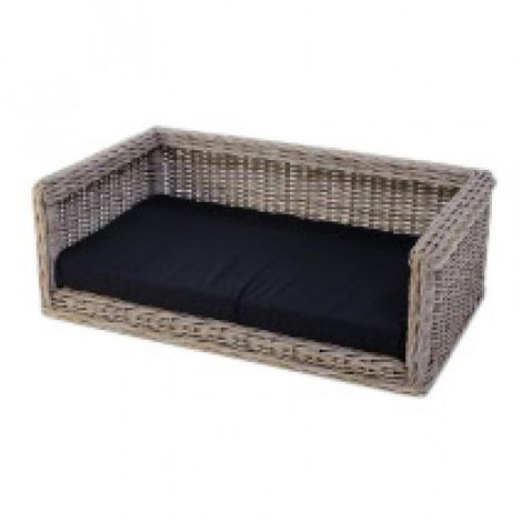 bed pillow for dogs orthopedic dog Outdoor Dog sofa Wicker Dog Sofa 96 x 67 cm + Polyester cushion black