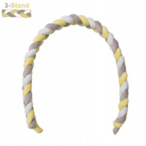 Bed Tower, Braided Bumper, Braided Baby Crib Crib 3 Weaving Baby Weaving Braided Bumper Decoration for Bed Bed (300cmblanc + Yellow)