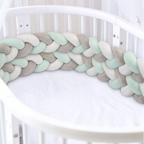 """main image of """"Bed Tower, Braided Bumper, Branded Baby Bed Crib 3 Weaving Baby Weaving Braided Bumper Decoration for Bed Bed (300cm Gray + White + Green)"""""""