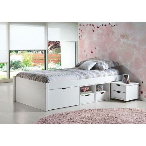 Bed with storage compartments and bedside table with wheels included in white water-varnished solid pine
