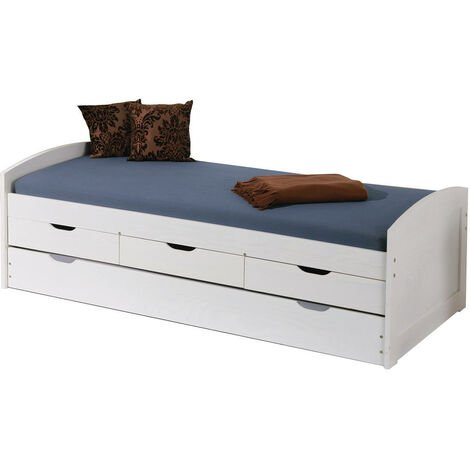 Bed with storage drawers and second lower pull-out bed in white water-varnished solid pine