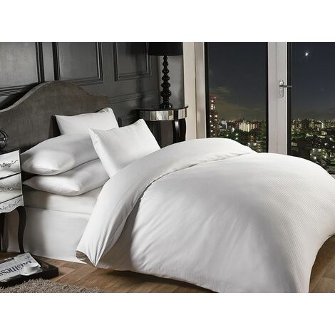 """Bedding Fitted Sheet Extra Deep 16"""" Satin Stripe 1000 Thread Count, White, Double"""
