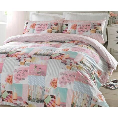 #Bedding Pretty Pastels Patchwork Style Single Duvet Quilt Bedding Bed Set Pink Girls Reversible