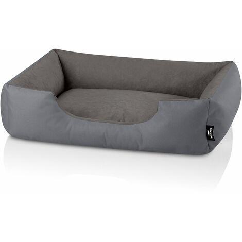 BedDog® ZARA colchón para perro S hasta XXXL, 24 colores, cama para perro, sofá para perro, cesta para perro:XL (ca. 100x85cm), STEEL-GREY (gris)