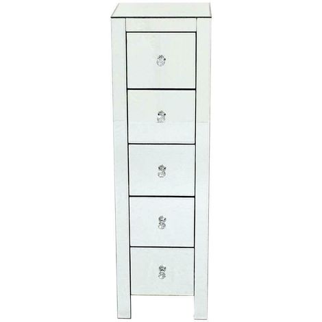 Bedroom Cabinet Unit Mirrored Bedside Table Crystal Glass Chest with 5 Drawers