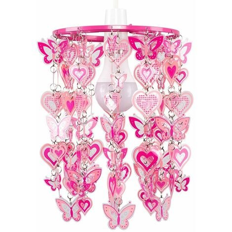 """main image of """"Bedroom Ceiling Pendant Shade Girls Pink Hearts & Butterflies Light Shade - Add LED Bulb"""""""