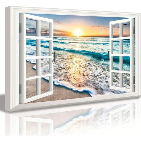 """main image of """"Bedroom Decor Beach Wall Art Canvas Wall Art for Living Room Nautical Coastal Ocean Fake Window Pictures for Bathroom Accessories Painting Sea Aesthetic Home Decorations 24X36 Poster Frame"""""""
