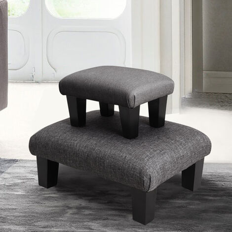 Bedroom Lounge Ottoman Pouffe Fabric Bench Foot Stool Seat Chair Rest Footstool Dark Grey