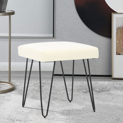 Bedroom Makeup Vanity Stool Linen Padded Seat Pouffe Hairpin Legs Side Chair