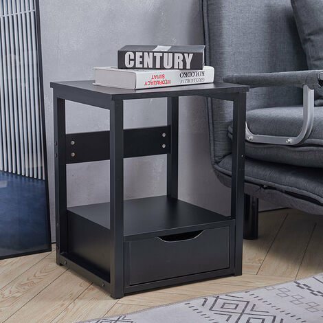 Bedroom Nightstand Bedside Lamp Table With Storage Drawer Shelf Side End Table - White