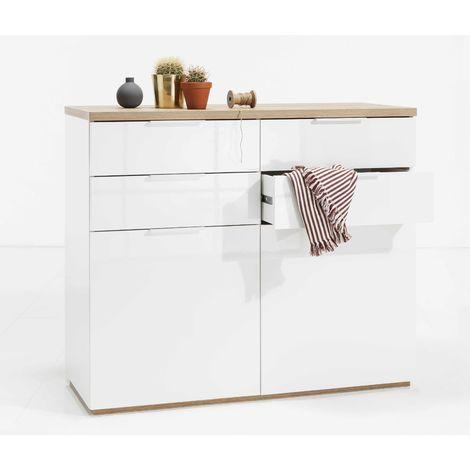 Bedroom Storage Dresser White 4 Drewers 2 Doors Cubbies Kitchen Living Room