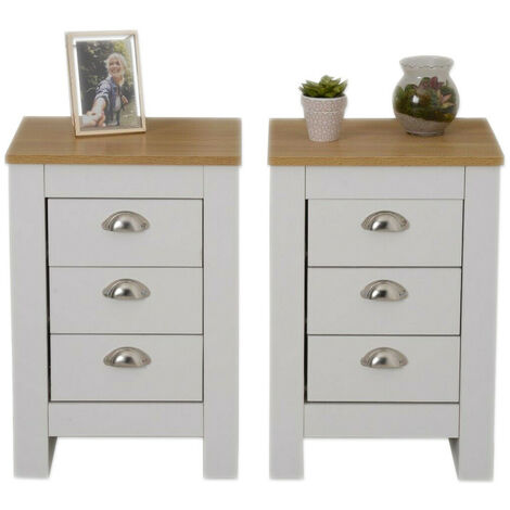 Bedroom Storage Furniture Bedside Table White 2 Piece