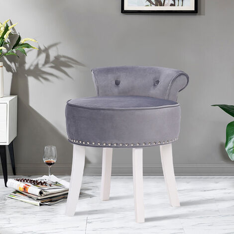 Bedroom Vanity Makeup Stool Dressing Table Chair Piano Stool Soft Padded Seat Grey