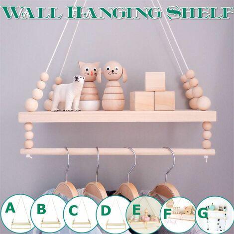 Bedroom Wall Decor Ornaments Tassel Beads Pendant Storage Shelf Rack Home Decoration Decor (G)