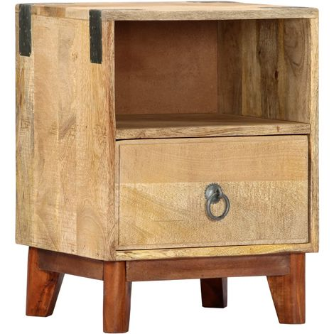 Bedside Cabinet 40x30x52 cm Solid Rough Mango Wood
