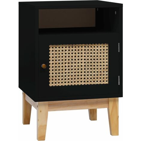 Bedside Cabinet Black 40x40x61 cm MDF and Rattan