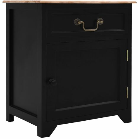 Bedside Cabinet Black and Brown 40x30x50 cm Paulownia Wood