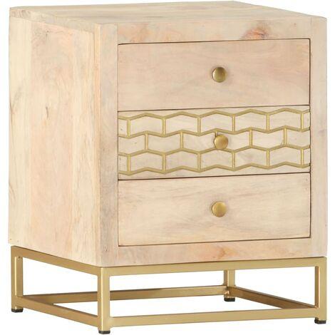 Bedside Cabinet Gold 40x30x50 cm Solid Mango Wood