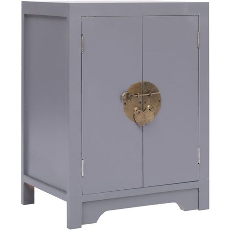 Bedside Cabinet Grey 38x28x52 cm Paulownia Wood