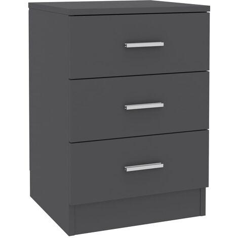 Bedside Cabinet Grey 38x35x56 cm Chipboard