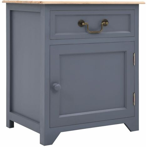 Bedside Cabinet Grey and Brown 40x30x50 cm Paulownia Wood