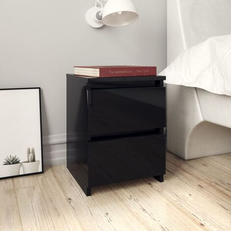 Bedside Cabinet High Gloss Black 30x30x40 cm Chipboard - Black