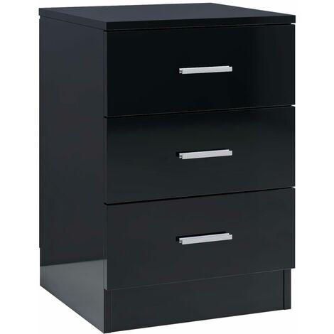 Bedside Cabinet High Gloss Black 38x35x56 cm Chipboard