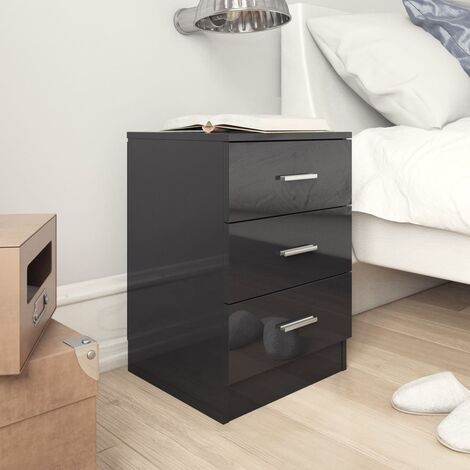 Bedside Cabinet High Gloss Black 38x35x56 cm Chipboard - Black