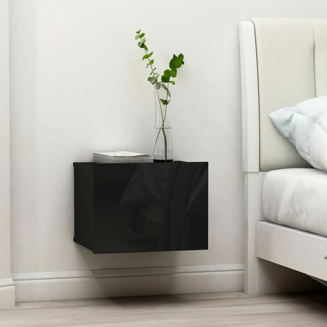 Bedside Cabinet High Gloss Black 40x30x30 cm Chipboard - Black