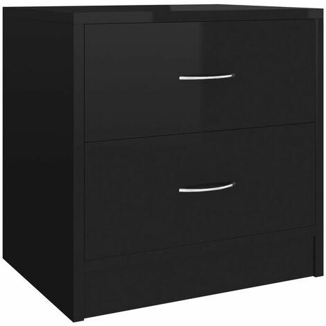 Bedside Cabinet High Gloss Black 40x30x40 cm Chipboard