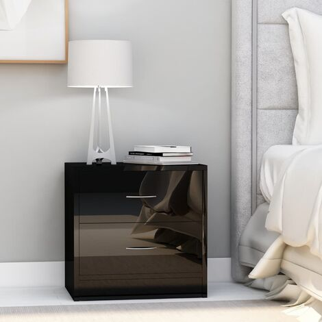 Bedside Cabinet High Gloss Black 40x30x40 cm Chipboard - Black